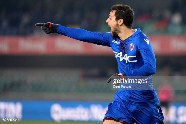 Mattia Destro of Bologna FC celebrates after scoring his team's third goal a during the serie A match between AC Chievo Verona and Bologna FC at...
