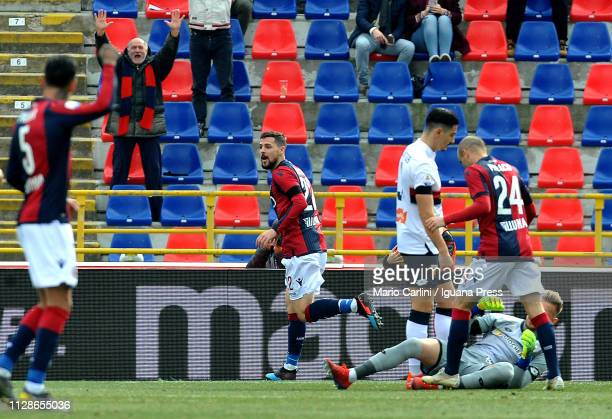 Mattia Destro of Bologna FC celebrates after scoring the opening goal during the Serie A match between Bologna FC and Genoa CFC at Stadio Renato...