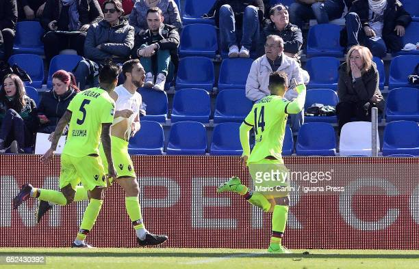 Mattia Destro of Bologna FC celebrates after scoring the opening goal during the Serie A match between US Sassuolo and Bologna FC at Mapei Stadium...