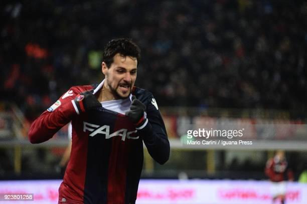 Mattia Destro of Bologna FC celebrates after scoring the opening goal during the serie A match between Bologna FC v Genoa CFC at Stadio Renato...