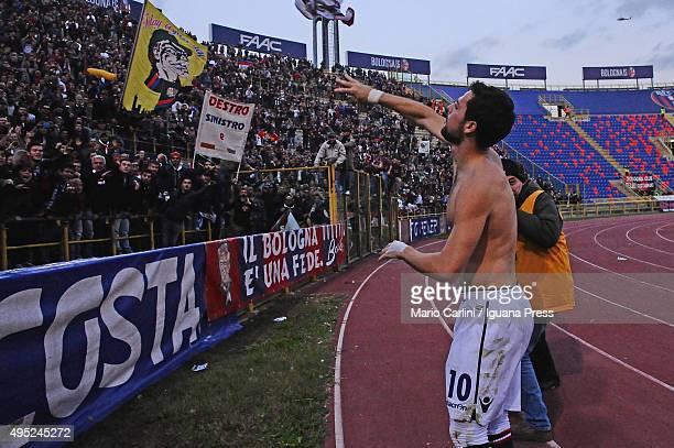 Mattia Destro of Bologna FC celebrates at the end of the Serie A match between Bologna FC and Atalanta BC at Stadio Renato Dall'Ara on November 1...