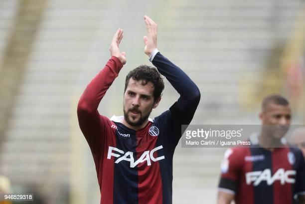 Mattia Destro of Bologna FC celebrates at the end of the serie A match between Bologna FC and Hellas Verona FC at Stadio Renato Dall'Ara on April 15...