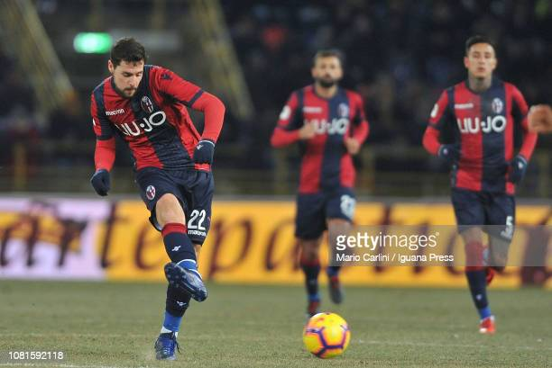Mattia Destro of Bologna FC in action during the Coppa Italia match between Bologna FC and Juventus at Stadio Renato Dall'Ara on January 12 2019 in...