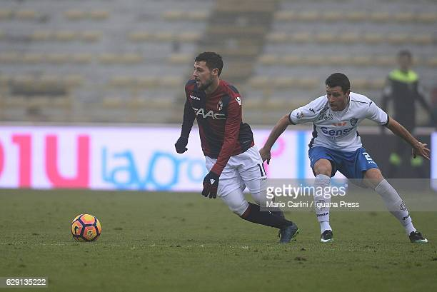 Mattia Destro of Bologna FC in action during the Serie A match between Bologna FC and Empoli FC at Stadio Renato Dall'Ara on December 11 2016 in...