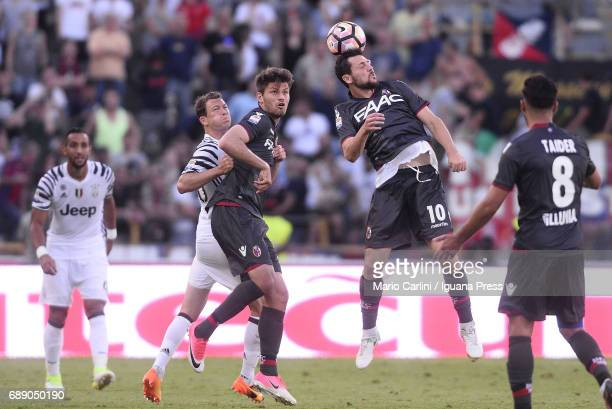Mattia Destro of Bologna FC in action during the Serie A match between Bologna FC and Juventus FC at Stadio Renato Dall'Ara on May 27 2017 in Bologna...