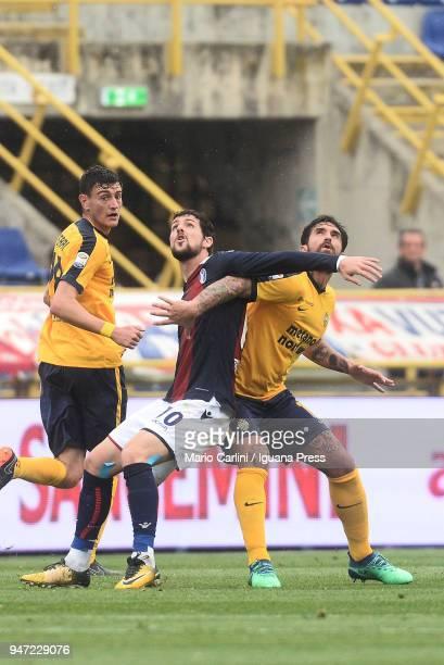 Mattia Destro of Bologna FC in action during the serie A match between Bologna FC and Hellas Verona FC at Stadio Renato Dall'Ara on April 15 2018 in...