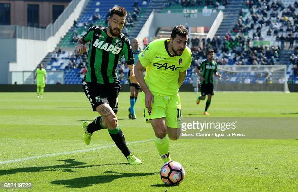 Mattia Destro of Bologna FC in action during the Serie A match between US Sassuolo and Bologna FC at Mapei Stadium Citta' del Tricolore on March 12...