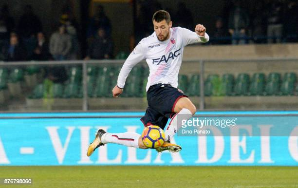 Mattia Destro of Bologna FC in avction during the Serie A match between Hellas Verona FC and Bologna FC at Stadio Marc'Antonio Bentegodi on November...