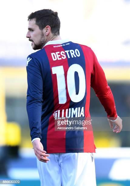 Mattia Destro of Bologna FC looks on during the Serie A match between Bologna FC and Cagliari Calcio at Stadio Renato Dall'Ara on December 3 2017 in...