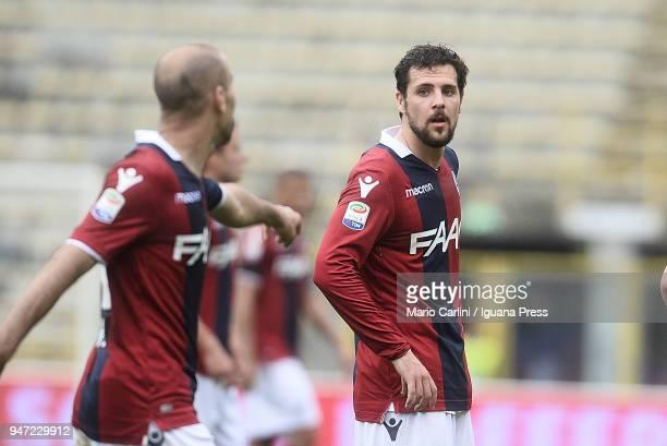 Mattia Destro of Bologna FC looks on during the serie A match between Bologna FC and Hellas Verona FC at Stadio Renato Dall'Ara on April 15 2018 in...