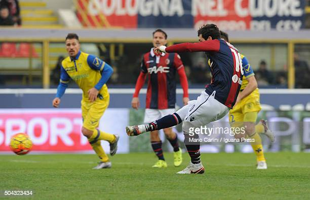 Mattia Destro of Bologna FC misses a penalty during the Serie A match between Bologna FC and AC Chievo Verona at Stadio Renato Dall'Ara on January 10...