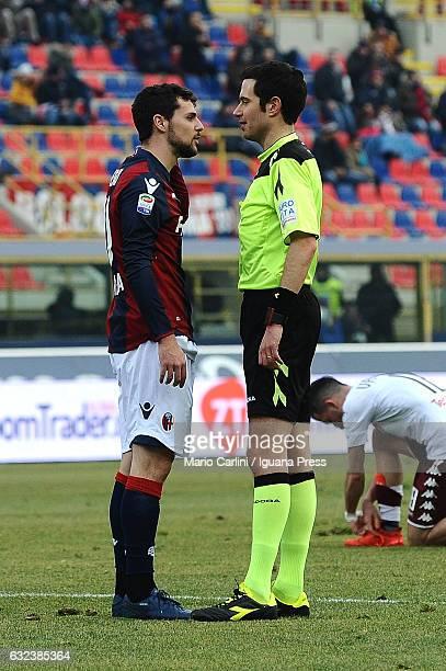Mattia Destro of Bologna FC reacts during the Serie A match between Bologna FC and FC Torino at Stadio Renato Dall'Ara on January 22 2017 in Bologna...