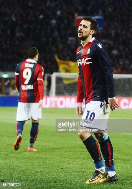 Mattia Destro of Bologna FC reacts during the Serie A match between Bologna FC and Cagliari Calcio at Stadio Renato Dall'Ara on December 3 2017 in...