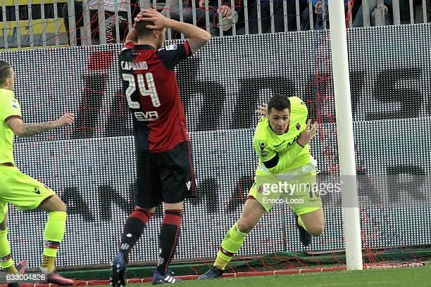 Mattia Destro of Bologna scores the goal 01 during the Serie A match between Cagliari Calcio and Bologna FC at Stadio Sant'Elia on January 29 2017 in...
