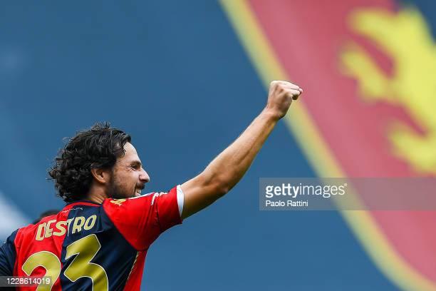 Mattia Destro of Genoa celebrates after scoring a goal during the Serie A match between Genoa CFC and Fc Crotone at Stadio Luigi Ferraris on...