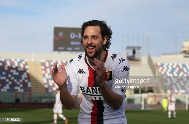 Mattia Destro of Genoa celebrates after scoring his team's opening goal during the Serie A match between FC Crotone and Genoa CFC at Stadio Comunale...