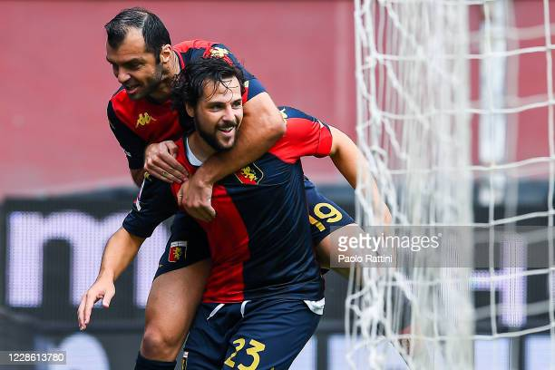 Mattia Destro of Genoa celebrates with his team-mate Goran Pandev after scoring a goal during the Serie A match between Genoa CFC and Fc Crotone at...