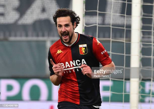 Mattia Destro of Genoa CFC celebrates after scoring the second goal of his team during the Serie A match between Genoa CFC and Bologna FC at Stadio...