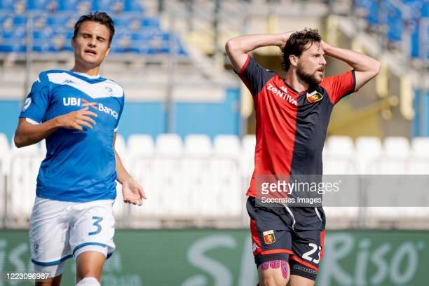 Mattia Destro of Genoa during the Italian Serie A match between Brescia v Genoa at the Stadio Mario Rigamonti on June 27, 2020 in Brescia Italy