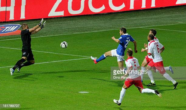 Mattia Destro of Italy scores his opening goal during the FIFA 2014 World Cup qualifier match between Italy and Malta on September 11 2012 in Modena...