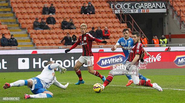 Mattia Destro of Milan scores the opening goal during the Serie A match between AC Milan and Empoli FC at Stadio Giuseppe Meazza on February 15 2015...