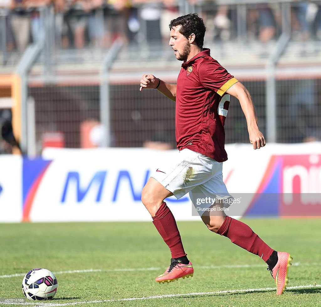 Mattia Destro of Roma in action during the friendly match between AS Roma and Indonesia U23 at Stadio Centro d'Italia - Manlio Scopigno on July 18, 2014 in Rieti, Italy.