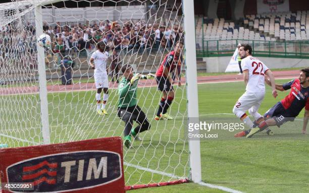 Mattia Destro of Roma scores the opening goal during the Serie A match between Cagliari Calcio and AS Roma at Stadio Sant'Elia on April 6 2014 in...