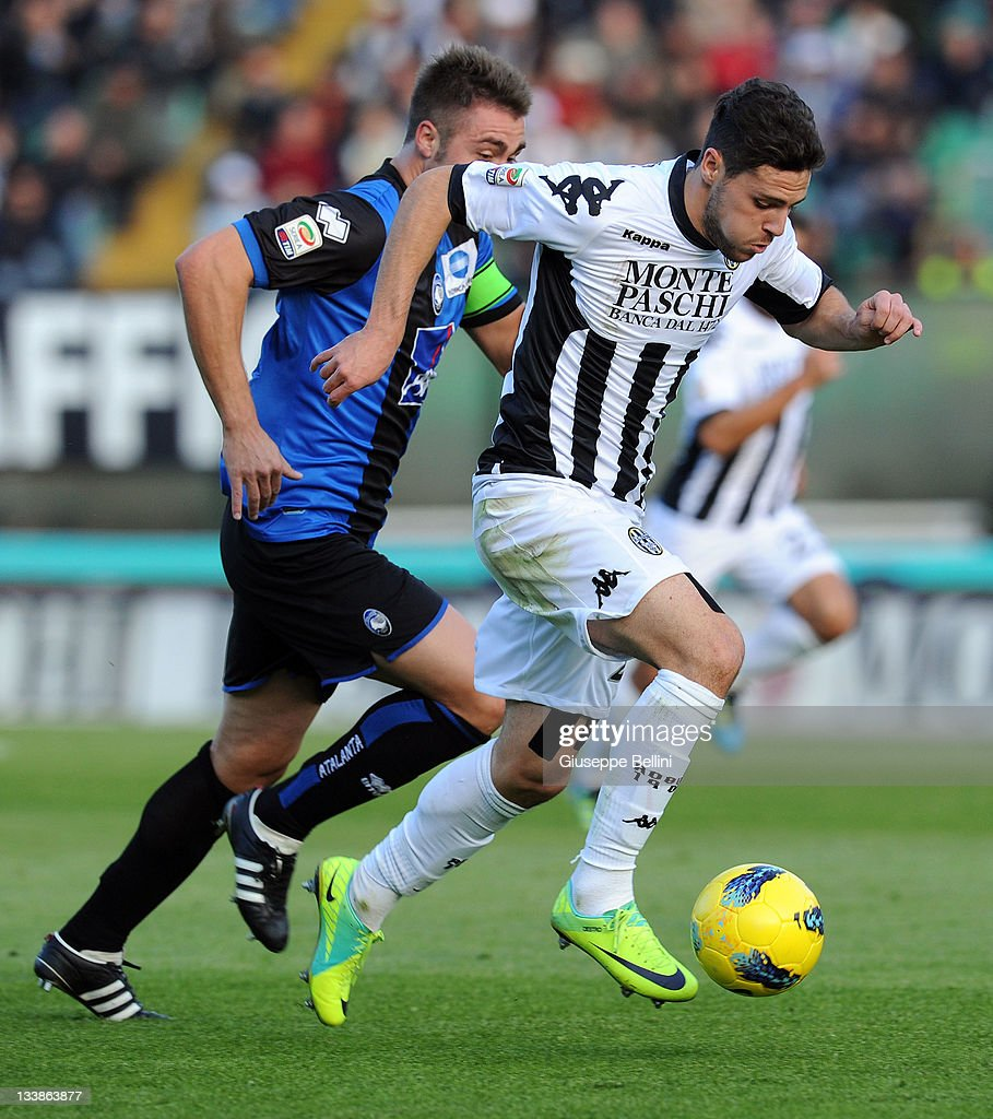 Mattia Destro Of Siena Charges Forward As Daniele Capelli Of Atalanta News Photo Getty Images