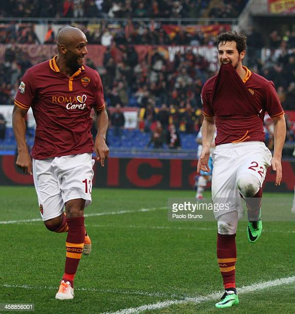 Mattia Destro with his teammate Maicon of AS Roma celebrates after scoring the second team's goal during the Serie A match between AS Roma and Calcio...