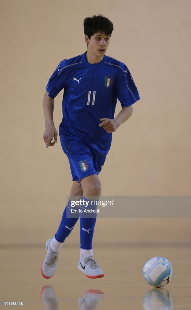 Mattia Mascherona of Italy in action during the Futsal International Friendly match between Italy U19 and Serbia U19 at Novarello Training Center on February 20, 2018 in Novara, Italy.
