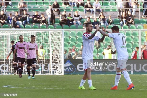 Mattia Mustacchio of Carpi celebrates after scoring his goal during the Serie B match between US Citta di Palermo and Carpi FC at Stadio Renzo...