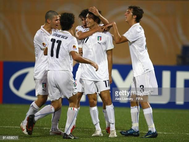 Mattia Mustacchio of Italy celebrates with Gianvito Misuraca Antonio Mazzotta and team mates after scoring the opening goal of the FIFA U20 World Cup...