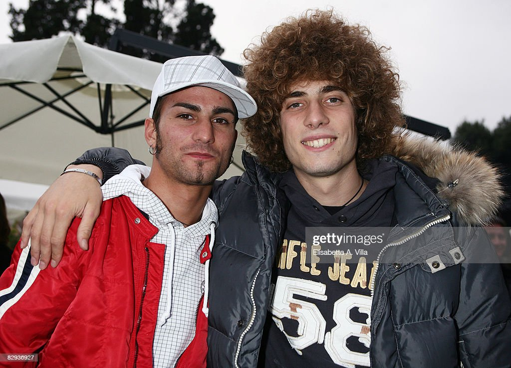 Mattia Pasini (L) and Marco Simoncelli (R) attend Aprilia new motorbike launch, Aprilia RSV4, at Piazza del Popolo on September 21, 2008 in Rome, Italy.