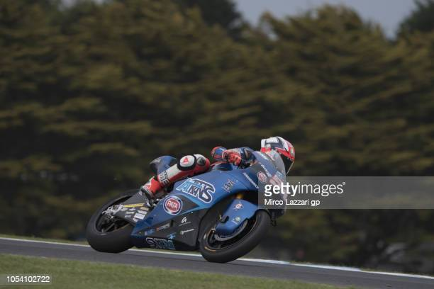 Mattia Pasini of Italy and Italtrans Racing heads down a straight during the Moto2 qualifying during qualifying for the 2018 MotoGP of Australia at...