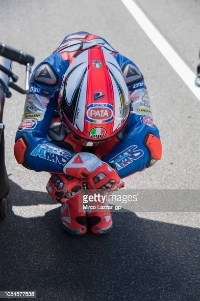 Mattia Pasini of Italy and Italtrans Racing prepares to start on the grid during the Moto2 race during the MotoGP of Australia Race during the 2018...