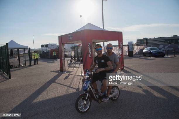 Mattia Pasini of Italy and Italtrans Racing rides the scooter in paddock during the MotoGP of Aragon Previews at Motorland Aragon Circuit on...