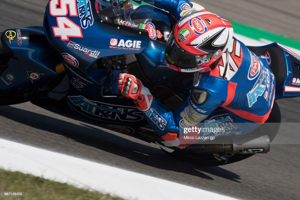 Mattia Pasini of Italy and Italtrans Racing rounds the bend during the MotoGP Netherlands - Free Practice on June 29, 2018 in Assen, Netherlands.