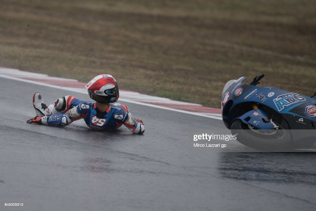 Mattia Pasini of Italy and Italtrans Racing Team crashed out during the Moto2 Race during the MotoGP of San Marino - Race at Misano World Circuit on September 10, 2017 in Misano Adriatico, Italy.