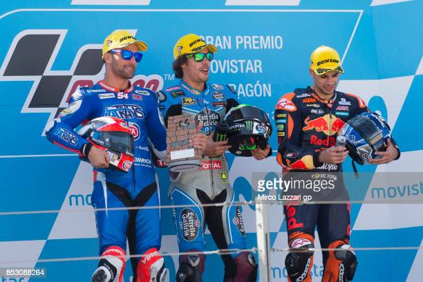 Mattia Pasini of Italy and Italtrans Racing Team Franco Morbidelli of Italy and EG 00 Marc VDS and Miguel Oliveira of Portugal and Red Bull KTM Ajo...