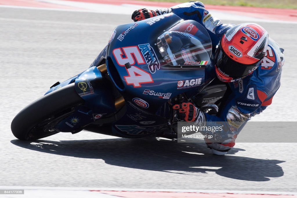 Mattia Pasini of Italy and Italtrans Racing Team rounds the bend during Free Practice for the Moto2 Grand Prix of San Marino at Misano World Circuit on September 8, 2017 in Misano Adriatico, Italy.