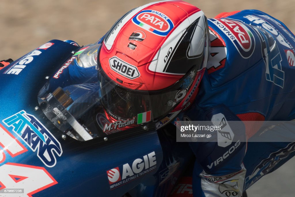 Mattia Pasini of Italy and Italtrans Racing Team rounds the bend during the MotoGp of Spain - Qualifying at Circuito de Jerez on May 6, 2017 in Jerez de la Frontera, Spain.