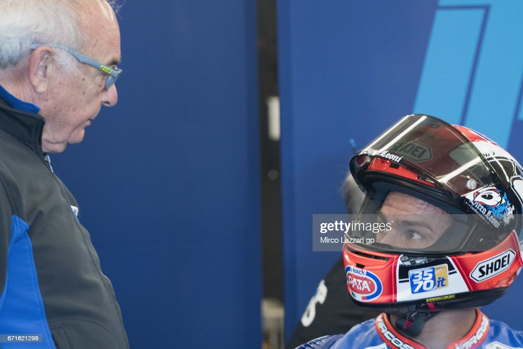 Mattia Pasini of Italy and Italtrans Racing Team speaks in box during the MotoGp Red Bull U.S. Grand Prix of The Americas - Qualifying at Circuit of The Americas on April 22, 2017 in Austin, Texas.