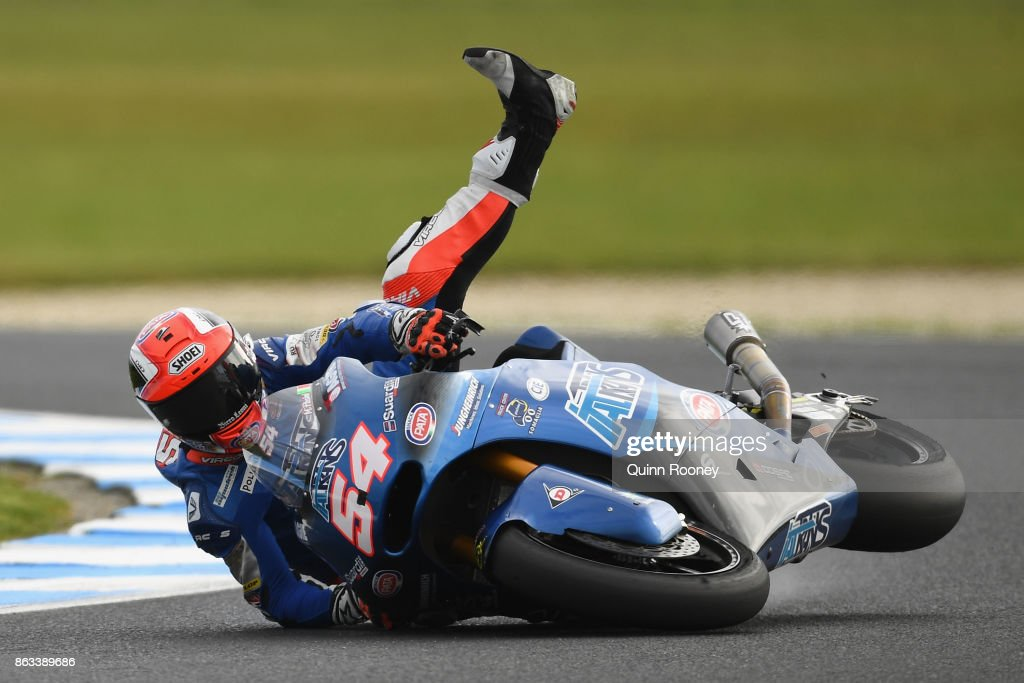Mattia Pasini of Italy and the Italtrans Racing Team crashes during free practice for the Moto 2 at the 2017 MotoGP of Australia at Phillip Island Grand Prix Circuit on October 20, 2017 in Phillip Island, Australia.