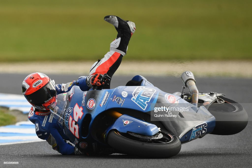 Mattia Pasini of Italy and the Italtrans Racing Team crashes during free practice for the Moto 2 at the 2017 MotoGP of Australia at Phillip Island Grand Prix Circuit on October 20, 2017 in Phillip Island, Australia.
