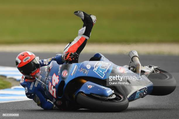 Mattia Pasini of Italy and the Italtrans Racing Team crashes during free practice for the Moto 2 at the 2017 MotoGP of Australia at Phillip Island...