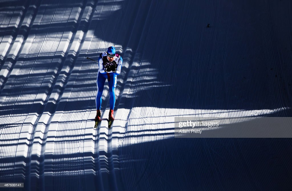 Mattia Pellegrin of Italy trains at the Cross Country ahead of the Sochi 2014 Winter Olympics at the Laura Cross-Country Ski and Biathlon Center on February 7, 2014 in Sochi, Russia.