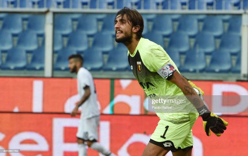 Mattia Perin (Genoa) during the TIM Cup match between Genoa CFC and AC Cesena at Stadio Luigi Ferraris on August 13, 2017 in Genoa, Italy.