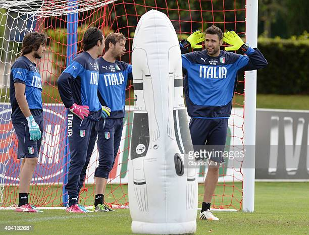 Mattia Perin Gianluigi Buffon Antonio Mirante and Salvatore Sirigu of Italy attend a training session at Coverciano on May 28 2014 in Florence Italy