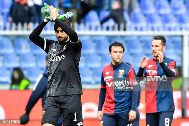 Mattia Perin Giuseppe Rossi and Andrea Bertolacci of Genoa greet the crowd after the serie A match between Genoa CFC and Spal at Stadio Luigi...