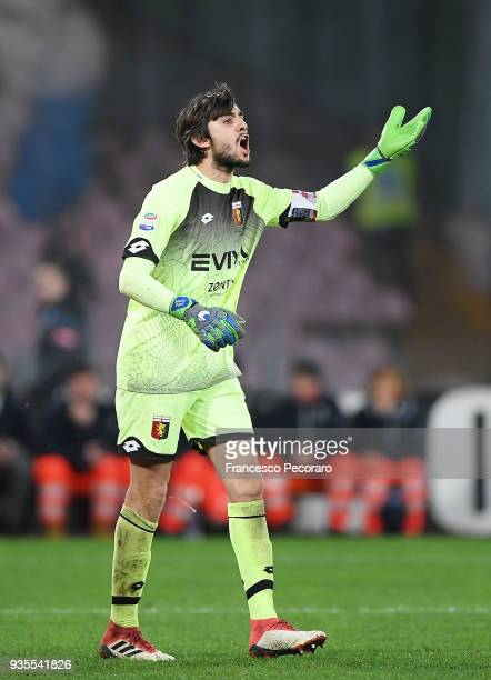 Mattia Perin goalkeeper of Genoa CFC gestures during the serie A match between SSC Napoli v Genoa CFC at Stadio San Paolo on March 18 2018 in Naples...